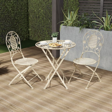 Folding Bistro Set  3PC Table and Chairs with Lattice & Leaf Design by Lavish Home (Antique White)