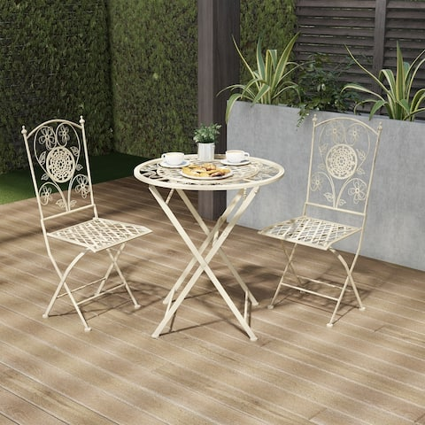 Laudery 3-piece Antique White Folding Bistro Set by Havenside Home