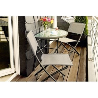 Link to Papara 3-piece Folding Balcony Set by Havenside Home Similar Items in Patio Furniture