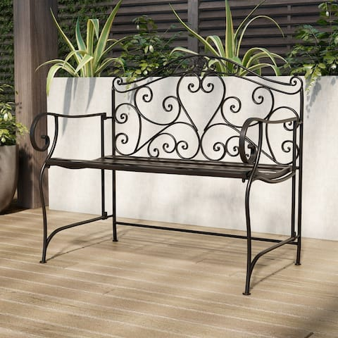 Laudery Antique Black Folding Garden Bench with Scrollwork Design by Havenside Home