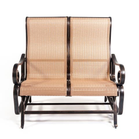 Scituate Aluminum Sling Glider Loveseat by Havenside Home