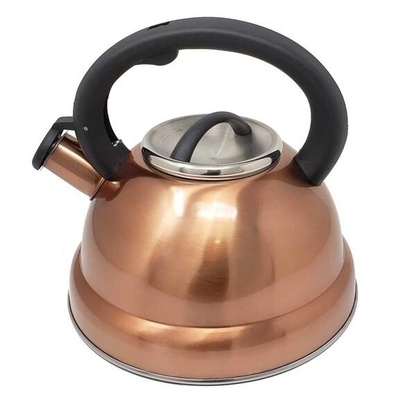Tea Maker Pot 3 Quarts 2.8 L. Copper Stainless Steel Whistling Tea Kettle