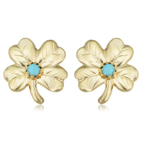 14k Yellow Gold Flower with Turquoise Earrings