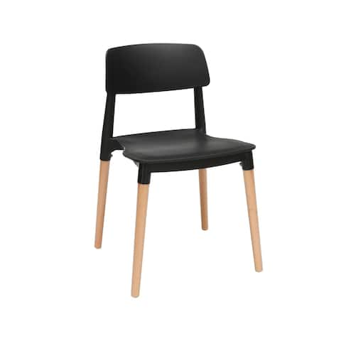 """OFM 161 Collection Mid Century Modern 18"""" Plastic Molded Dining Chairs, Solid Natural Wood Legs, 4 Pack"""
