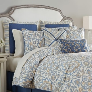 Croscill Janine Blue Damask 4 Piece Comforter Set