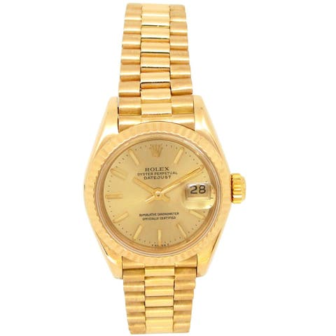 Pre-owned 26mm Rolex 18k Yellow Gold Datejust President Watch - N/A