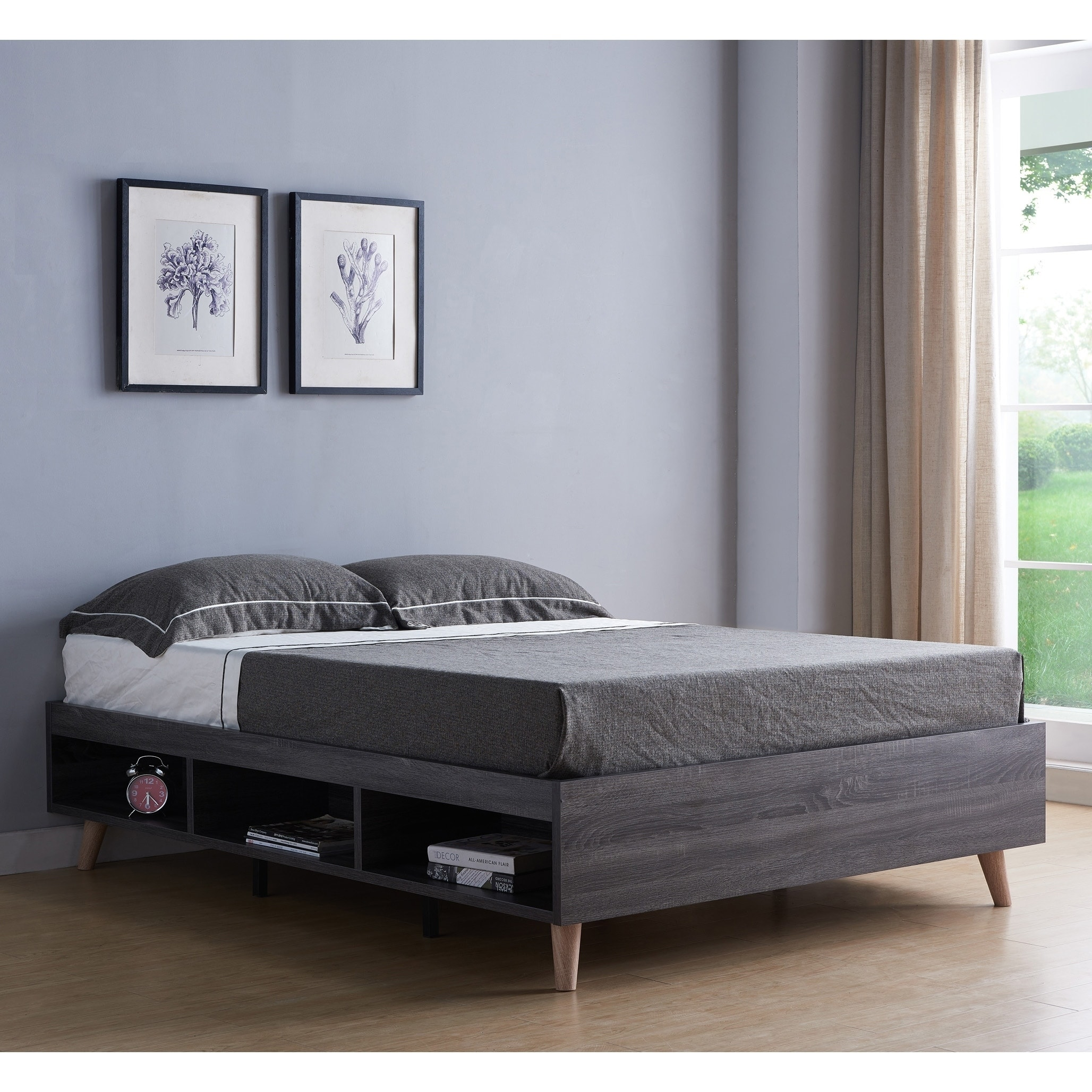 Shop Black Friday Deals On Carson Carrington Jutsajaure Grey Storage Queen Platform Bed Overstock 28991436