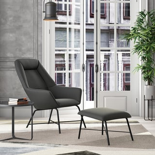 Link to Strick & Bolton Breto Modern Chair and Ottoman Similar Items in Living Room Furniture