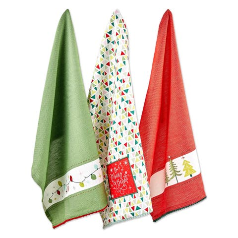 DII Assorted Festive Christmas Embellished Dishtowel (Set of 3)