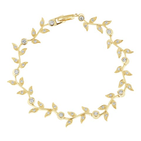 14kt Yellow Gold 1 ct diamonds Floral Bracelet by Beverly Hills Charm