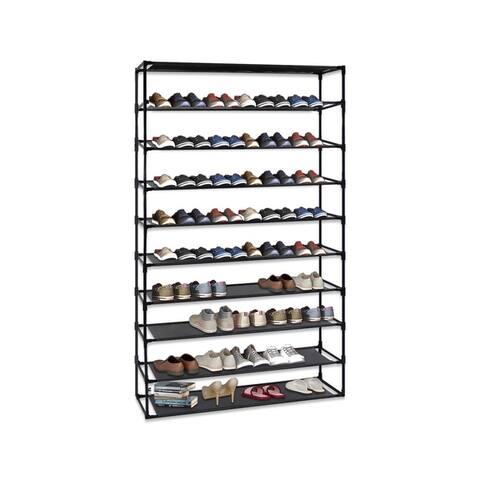 4 Tier Shoe Rack Detachable Non-Woven Waterproof Fabric Shoe Organizer Tower Black