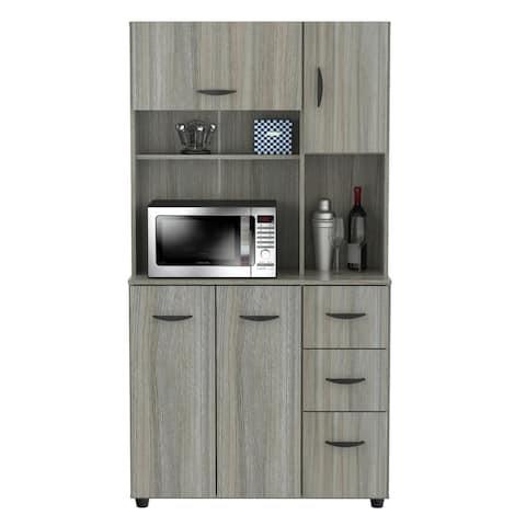 Inval Smoke Oak Kitchen Microwave Cabinet