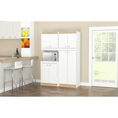 Inval GALLEY White and Vienes Oak 2-Piece Pantry Set
