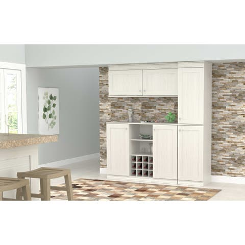 Inval Shaker Style Washed Oak 3-Piece Buffet and Pantry Set