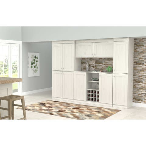 Inval Shaker Style Washed Oak 4-Piece Buffet and Pantry Set