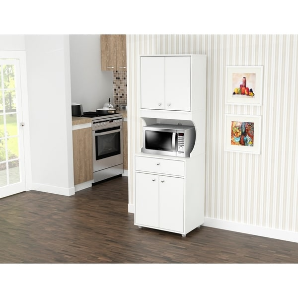 Shop Inval Galley White 4 Door Pantry With Microwave Storage Overstock 28992153