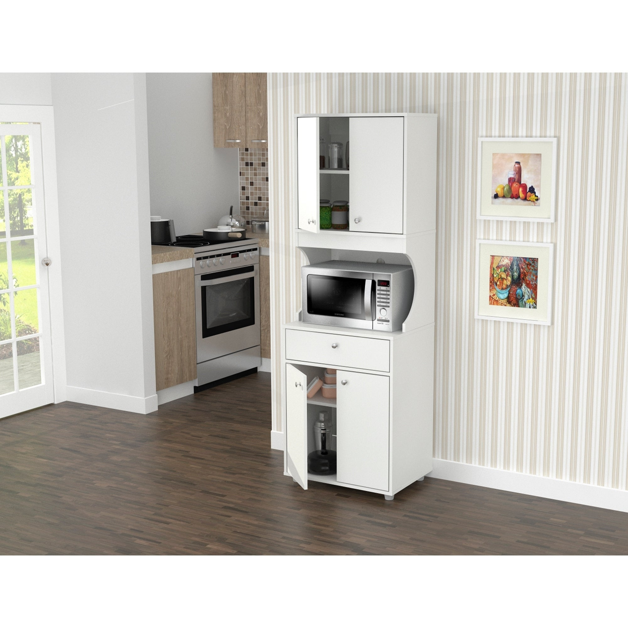 Inval Galley White 4 Door Pantry With Microwave Storage