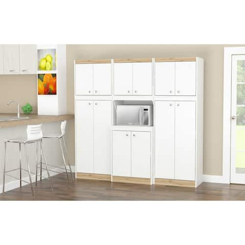 Inval GALLEY White and Vienes Oak 3-Piece Pantry Set