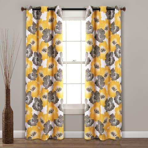 Lush Decor Julie Floral Insulated Grommet Blackout Window Curtain Panel Pair