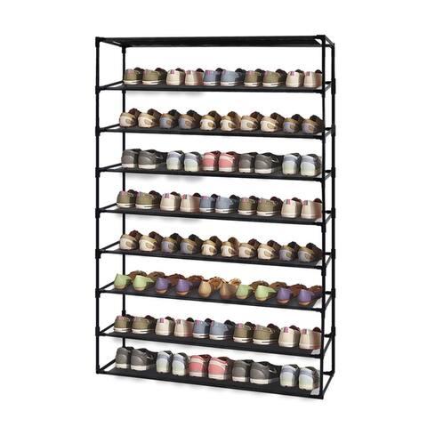 5 Tier Shoe Rack Detachable Non-Woven Waterproof Fabric Shoe Organizer Tower Black