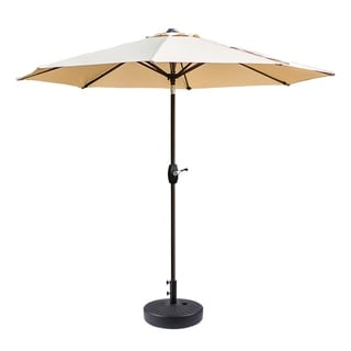 9ft Patio Umbrella w/ Round Plastic Free Standing Umbrella Base, Black