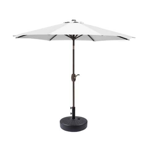 9ft Patio Umbrella with Round Plastic Free Standing Umbrella Base