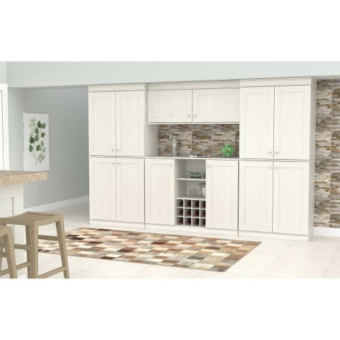 Inval Shaker Style Washed Oak 4-Piece Buffet and Wide Pantry Set