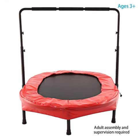 Parent-Child Trampoline Twin Trampoline with Safety Pad Adjustable Handlebar - N/A