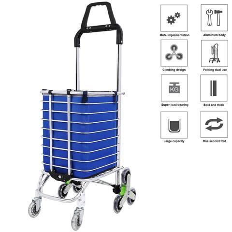 8 Wheels Aluminum Oxford Cloth Bag Folding Stairs Double Handle Shopping Cart Triangular