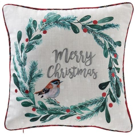Merry Christmas Quote and Wreath Pillow