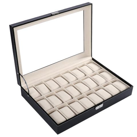 HOMDOX Large Synthetic Leather Glass Top 24 Watch Holder Display Storage Store Jewelry Organizer Box Case