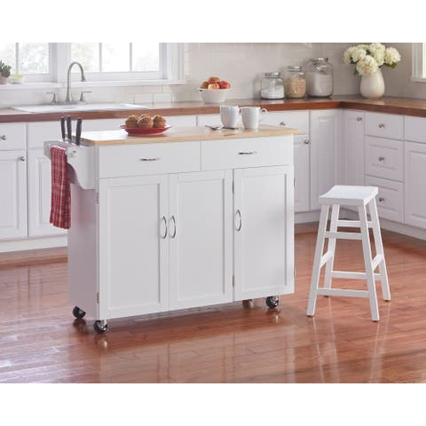 Simple Living Addie Kitchen Cart with Wood Top