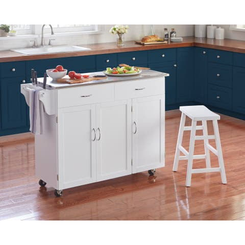 Simple Living Addie Kitchen Cart with Stainless Steel Top