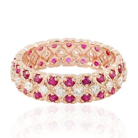 Heart Shape Eternity Band In 18K Rose Gold With Ruby & Diamonds