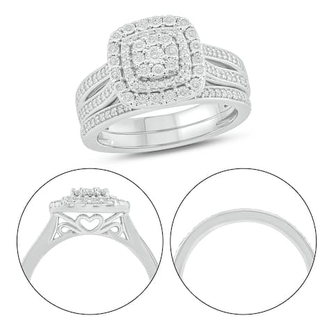 Cali Trove 925S Sterling Silver with 3/8 ct TDW Bridal Ring Set.
