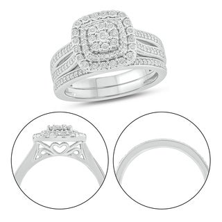Cali Trove 925S Sterling Silver With 3 8 Ct TDW Bridal Ring Set