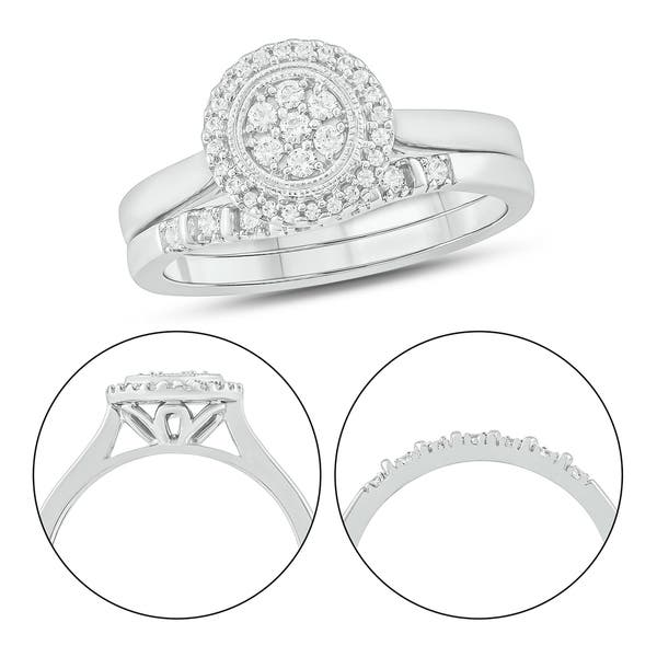 Shop Cali Trove 925 Sterling Silver 1 3 Ct Tdw Bridal Ring Set