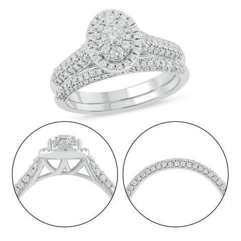 Cali Trove 10KT White Gold with 1ct TDW Bridal Ring Set.