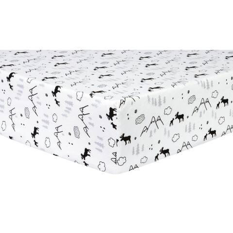 Lumberjack Moose Deluxe Flannel Fitted Crib Sheet