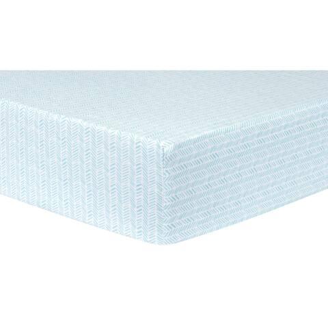 Aqua Herringbone Deluxe Flannel Fitted Crib Sheet
