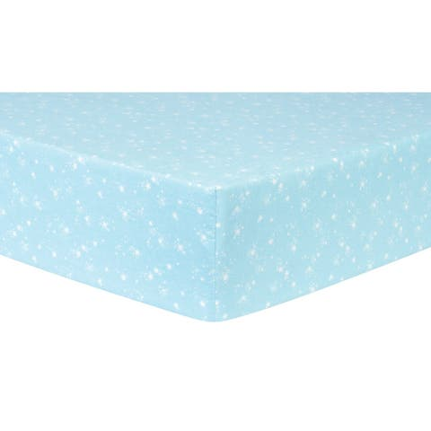 Stars Light Blue Deluxe Flannel Fitted Crib Sheet