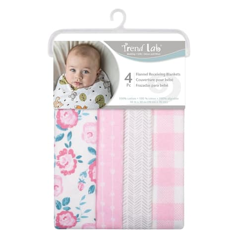 Pink Floral 4 Pack Flannel Blankets