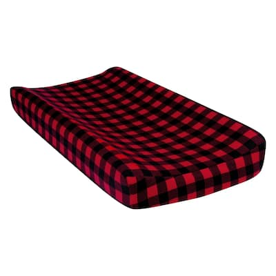 Red and Black Buffalo Check Deluxe Flannel Changing Pad Cover