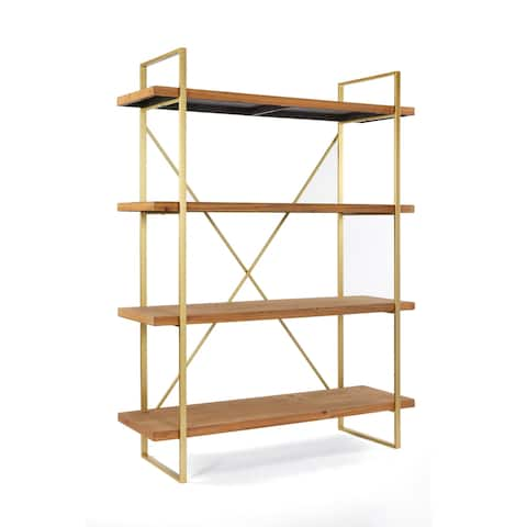 Statements By J Emma Etagere Wooden Bookshelf With 4 Shelves, 47 Inch Wide