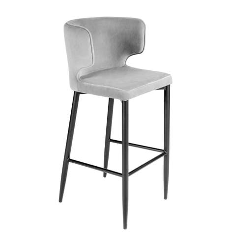 Statements by J Kayla Curved Upholstered Modern Gray Velvet Bar Chair, 40.5 Inch Tall