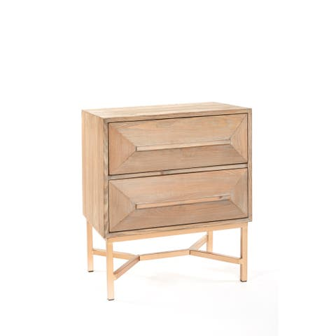 Statements By J Le Marais Modern Brown Gold Nighstand, 25.25 Inch Tall