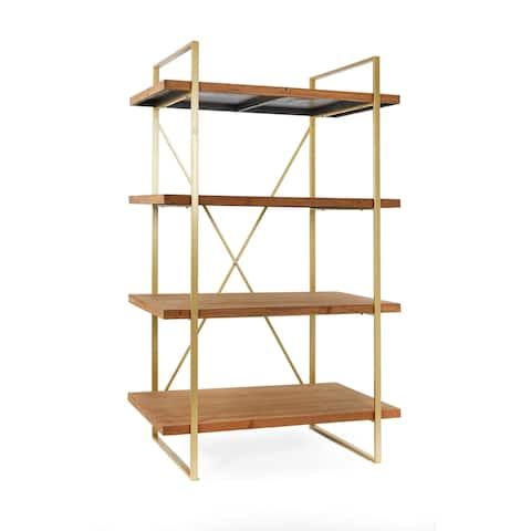 Statements By J Emma Etagere Wooden Bookshelf With 4 Shelves, 63 Inch Tall