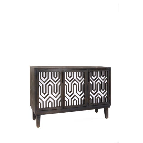 Statements By J Sybelle Modern Washed Black Mirrored Buffet Server, 32 Inch Tall