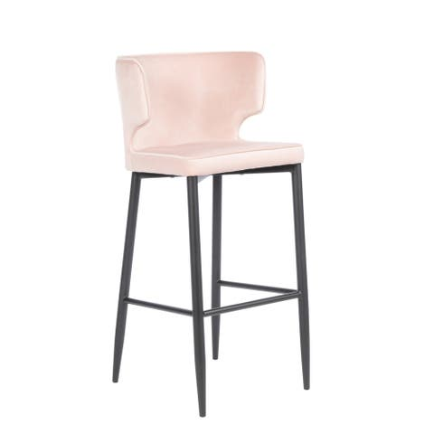 Statements by J Kayla Curved Upholstered Modern Blush Velvet Bar Chair, 40.5 Inch Tall