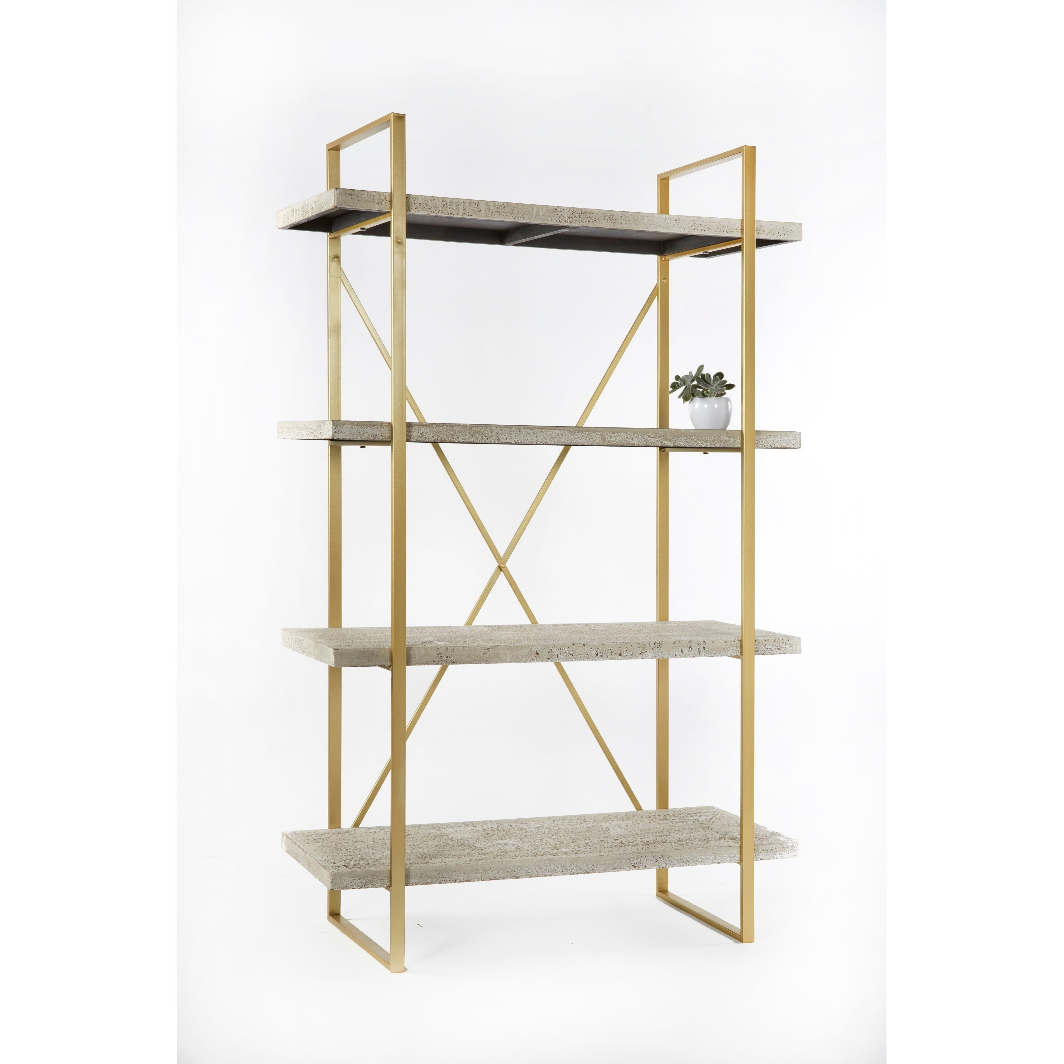 Statements By J Emma Etagere Antique White Bookcase With 4 Shelves 63 Inch Tall